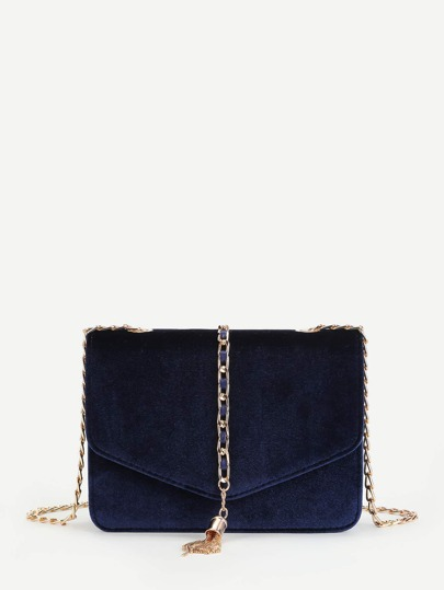 Chain Tassel Decorated Velvet Crossbody Bag