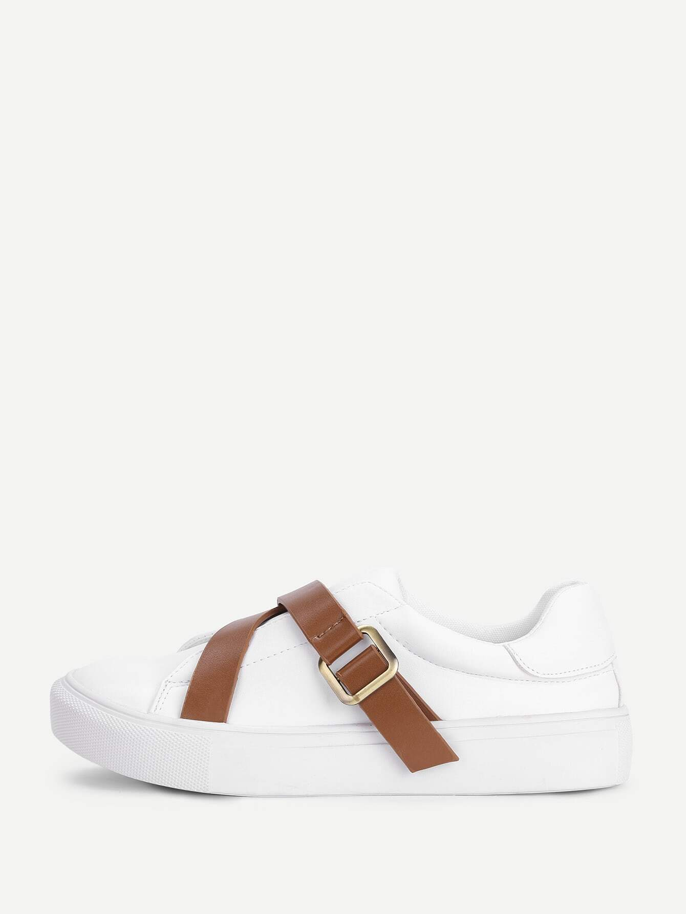 Image of Contrast Buckle Flat Trainers
