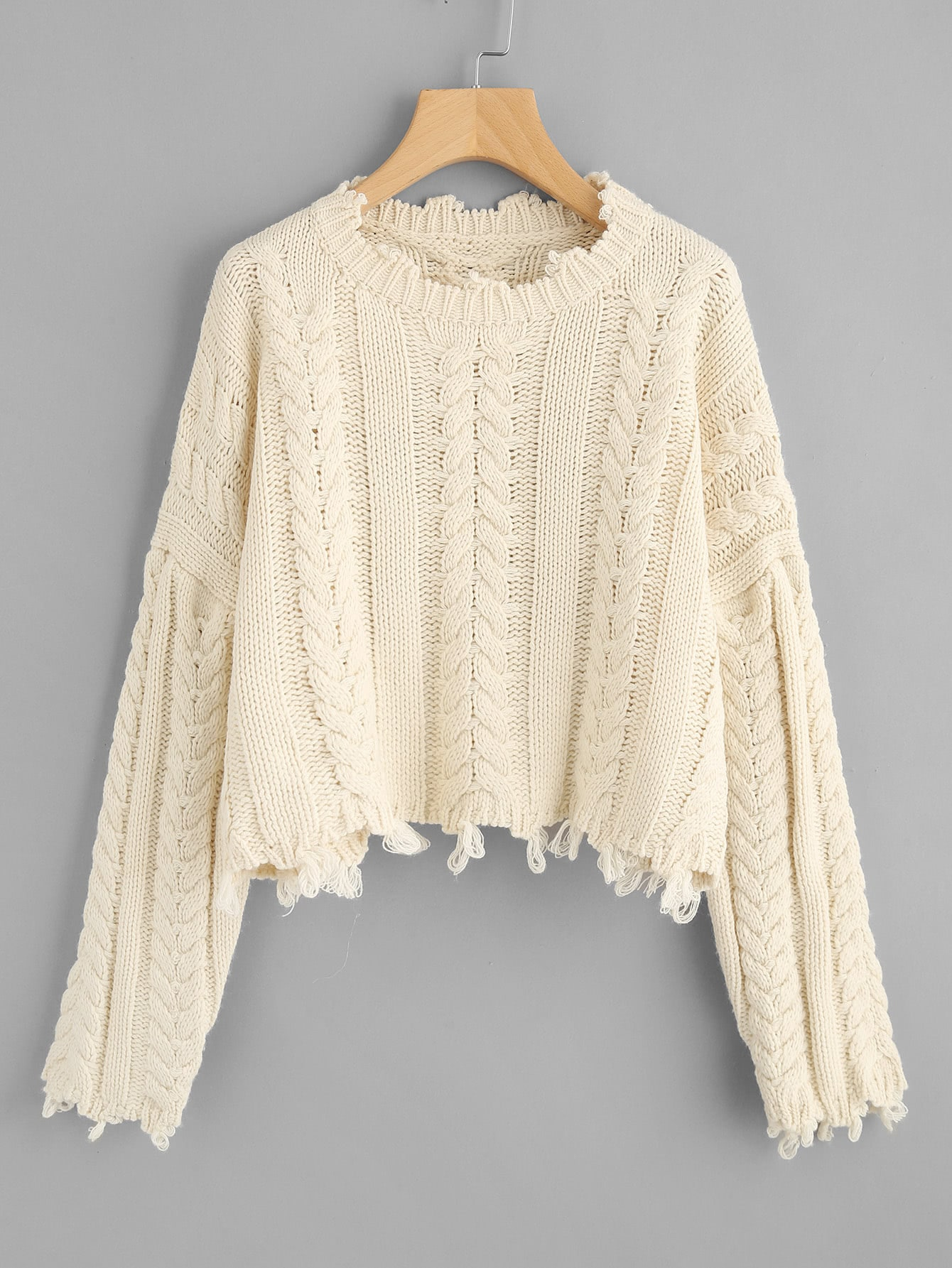 Raw Edge Cable Knit Crop Jumper sweater170907461