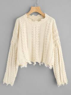 Raw Edge Cable Knit Crop Jumper