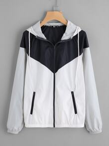 Two Tone Hoodie Windbreaker Jacket