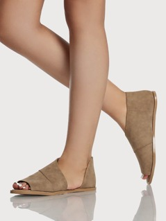 Cut Out Peep Toe Sandals TAUPE