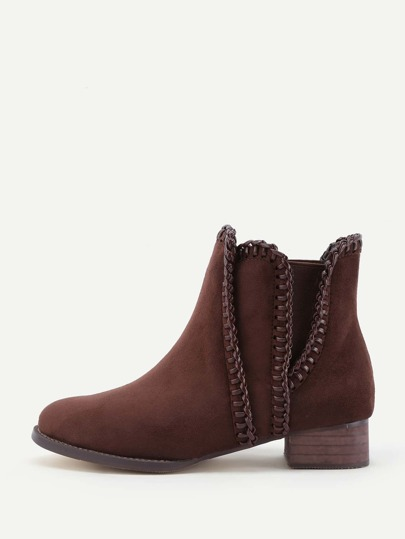 Whipstitch Detail Block Heeled Ankle Boots