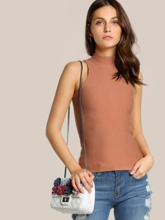 High Neck Sleeveless Top SALMON