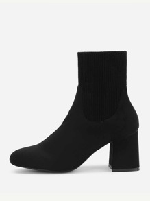 Almond Toe Block Heeled Ankle Boots