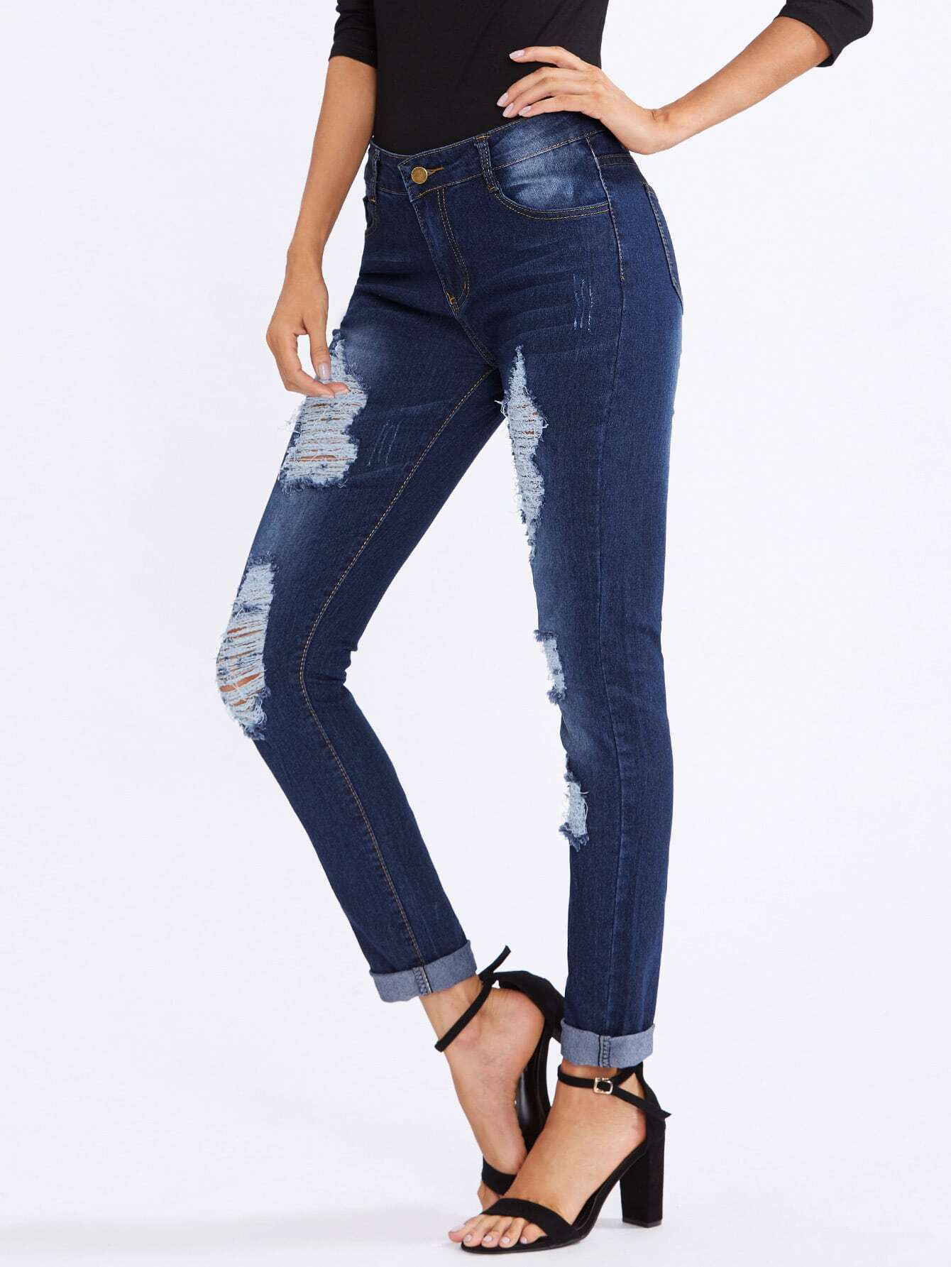 Destroyed Rolled Cuff Jeans