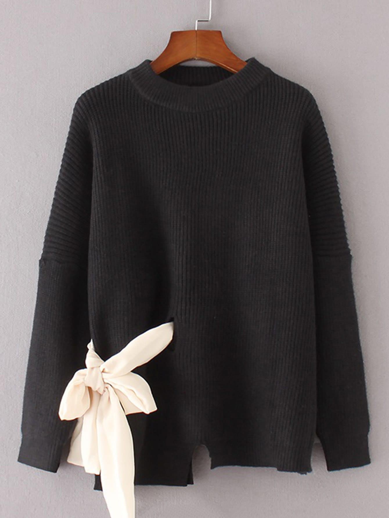 Contrast Bow Tie Slit Detail Asymmetrical Sweater