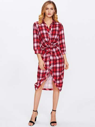 Twist Front Plaid Shirt Dress
