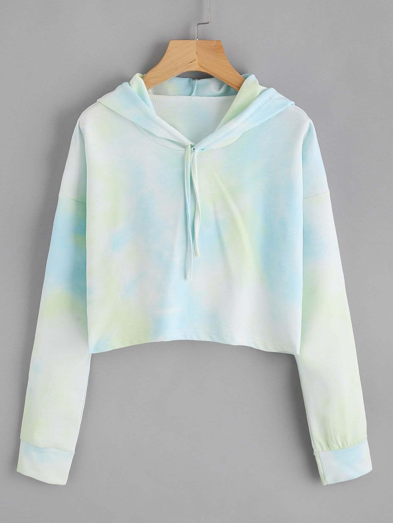 Tie Dye Drop Shoulder Crop Hoodie tie dye drop shoulder crop hoodie