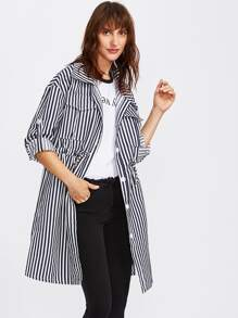 Contrast Stripe Roll Sleeve Drawstring Coat