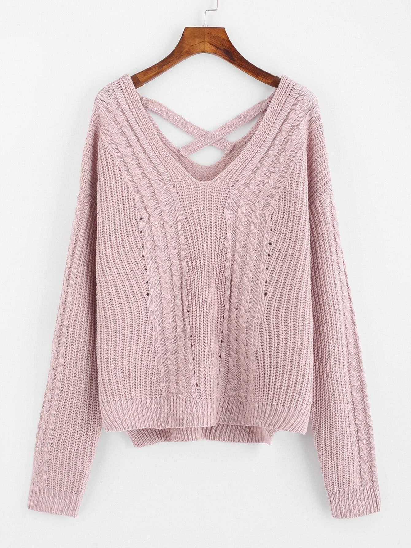 Crisscross Dual V Neck Slit Side Sweater