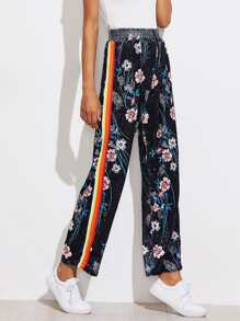 Striped Tape Side Floral Velvet Pants