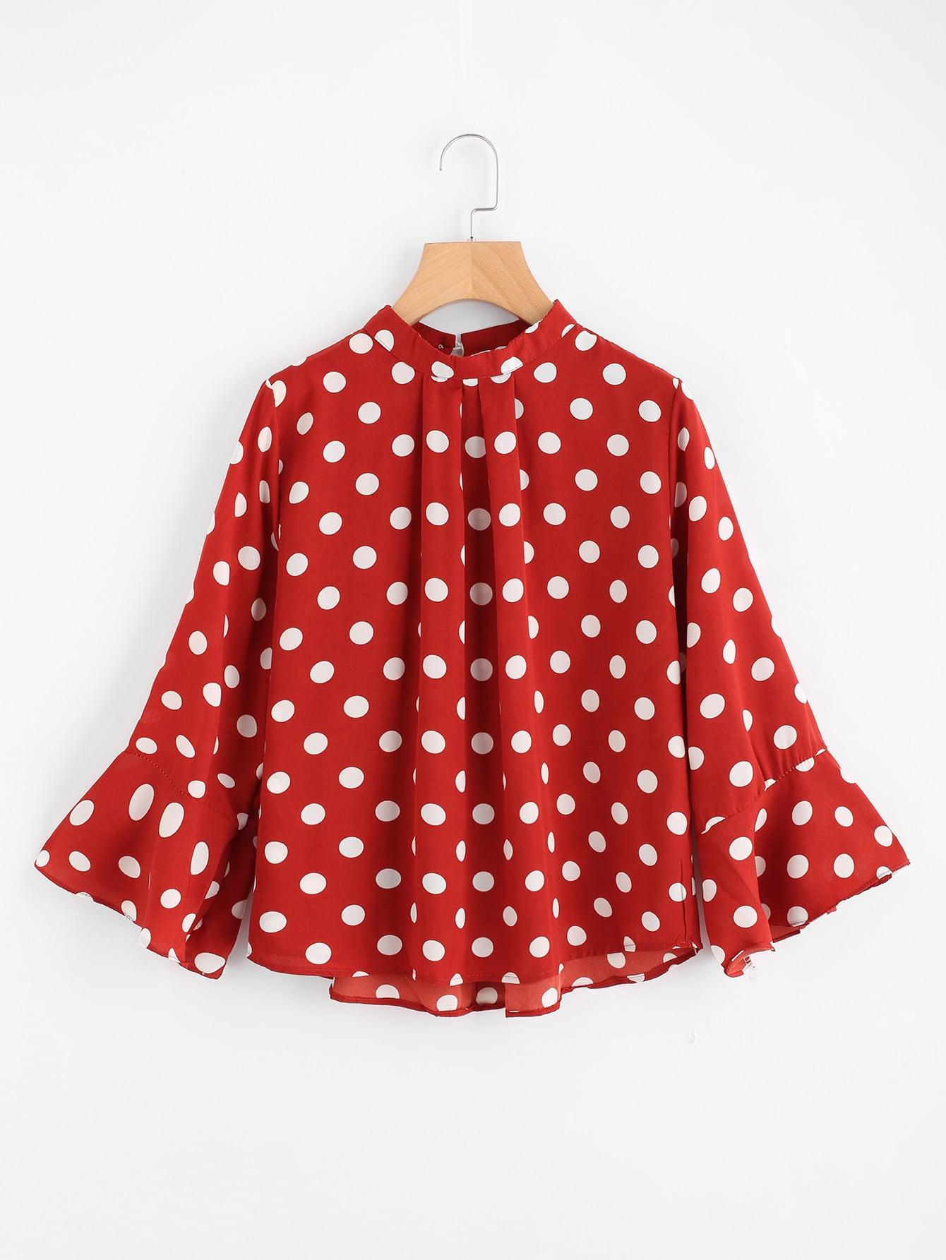 Ruffle Sleeve Polka Dot Pleated Front Blouse vintage lantern sleeve plaided ruffle pleated blouse
