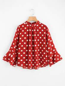 Ruffle Sleeve Polka Dot Pleated Front Blouse