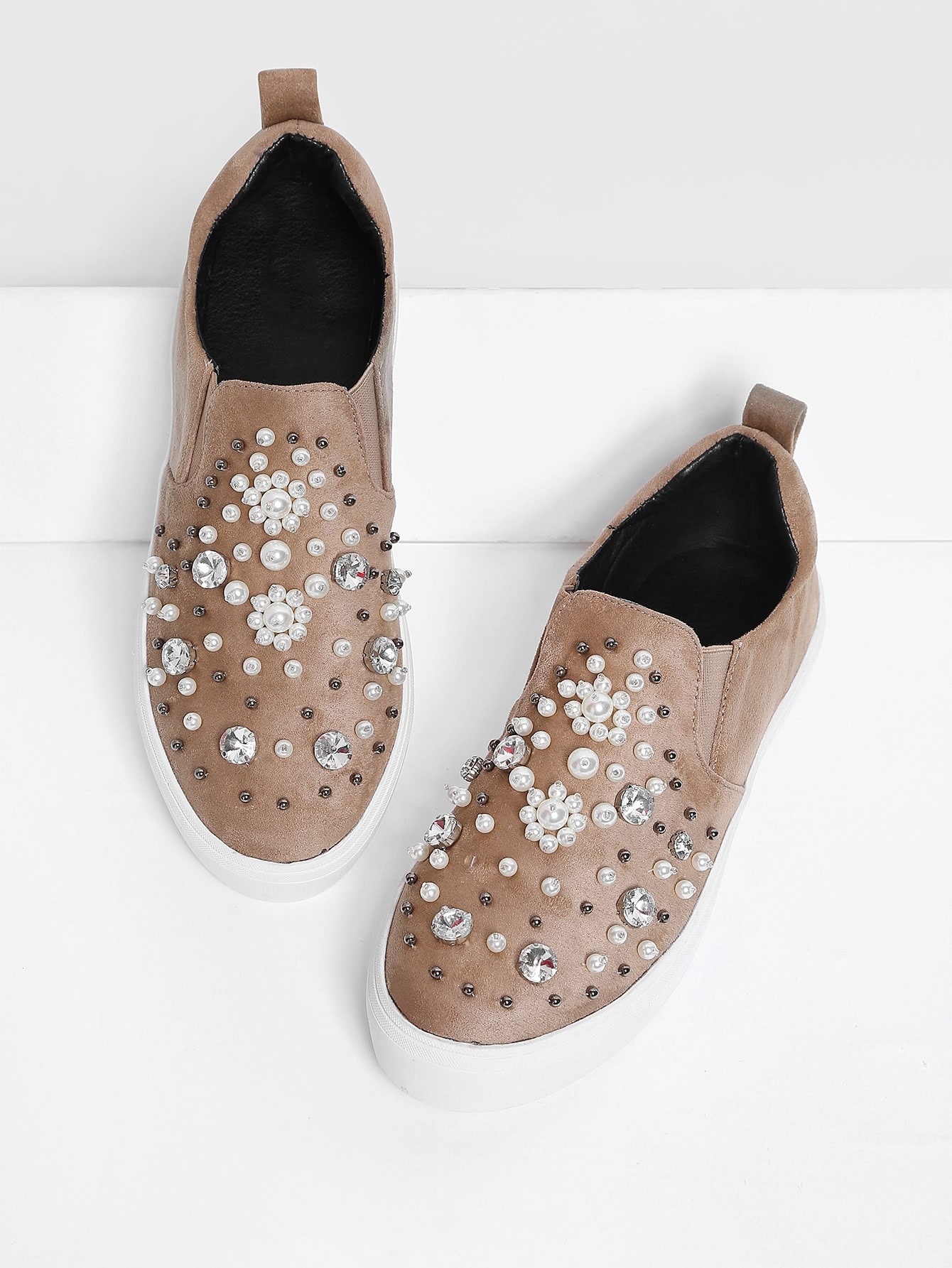 Faux Pearl Decorated Slip On Sneakers