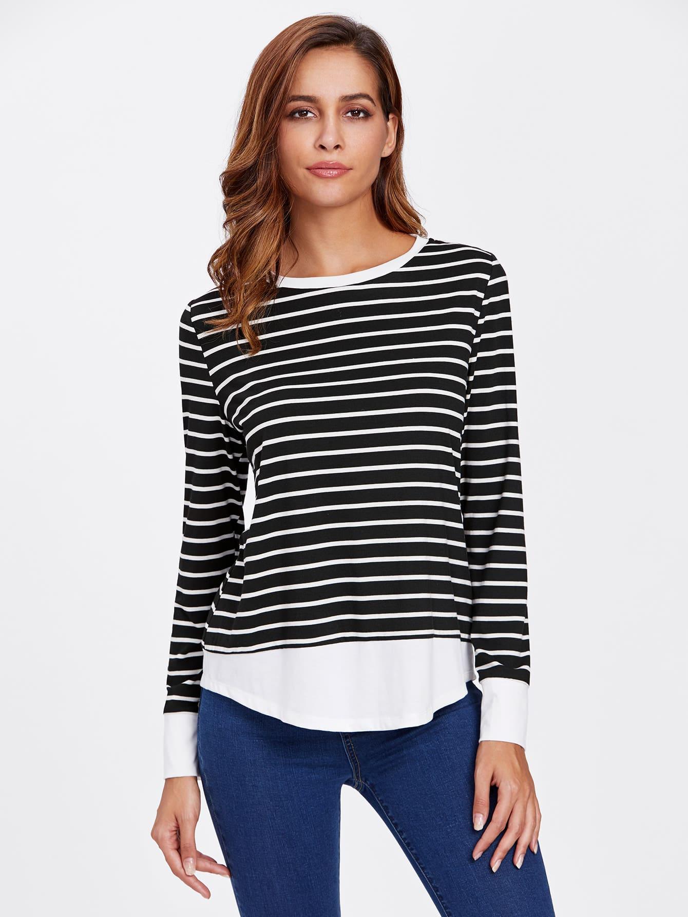 Contrast Trim Striped T-shirt giulia t shirt scollo v manica corta черный
