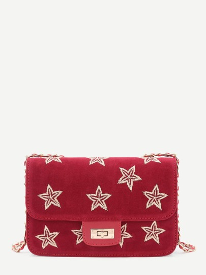 Star Embroidery Suede Chain Crossbody Bag