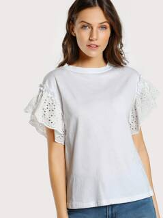 Eyelet Trim Sleeve Top WHITE