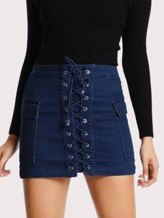 Two Pocket Lace Up Skirt DENIM