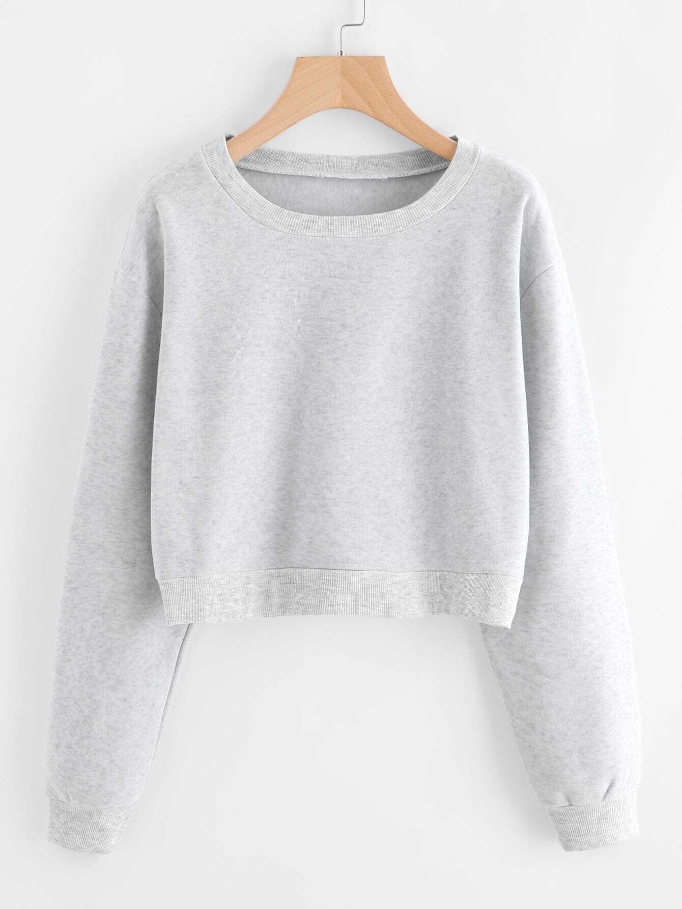 Drop Shoulder Ribbed Trim Crop Pullover dark grey ribbed trim drop shoulder lace up sweatshirt
