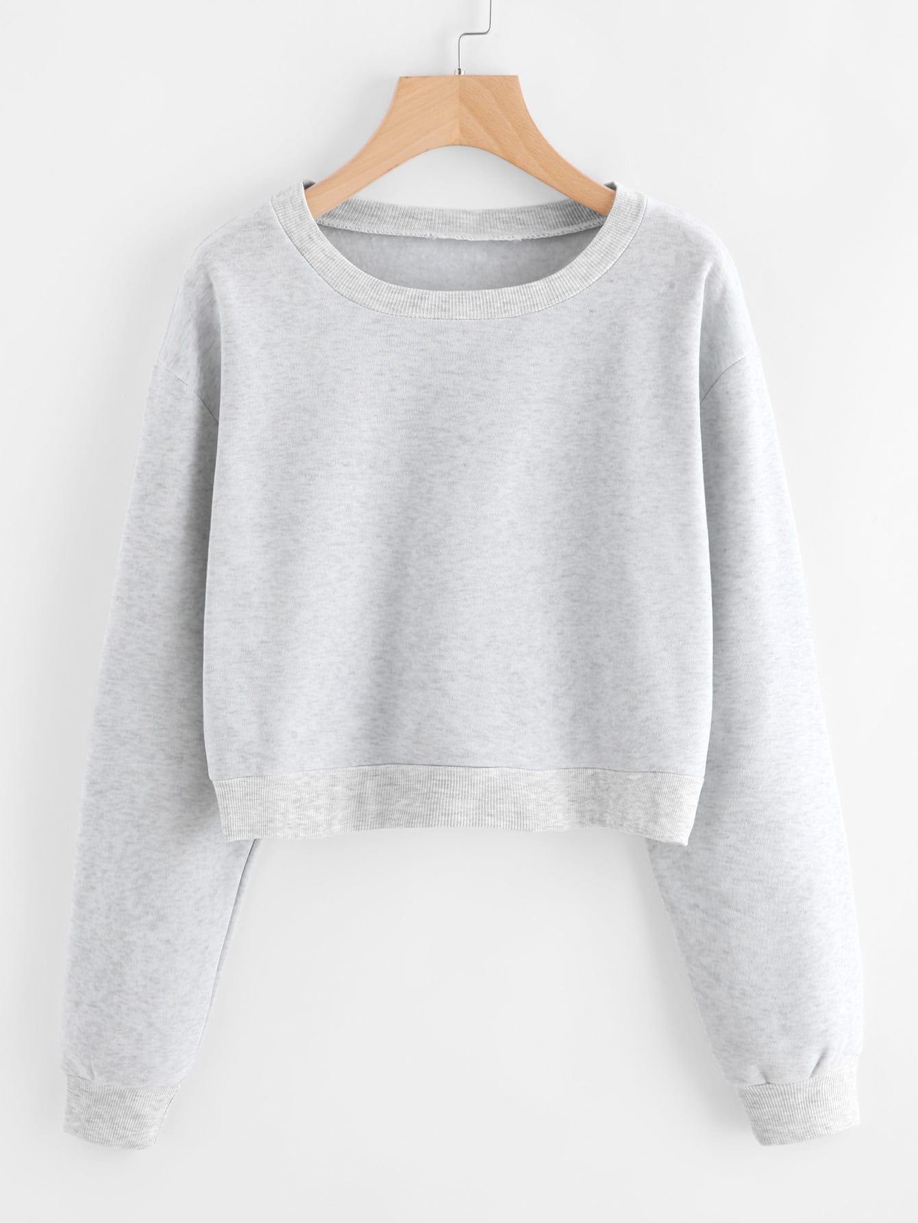 Drop Shoulder Ribbed Trim Crop Pullover sweatshirt170925103
