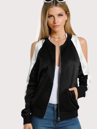 Two Tone Open Shoulder Bomber Jacket