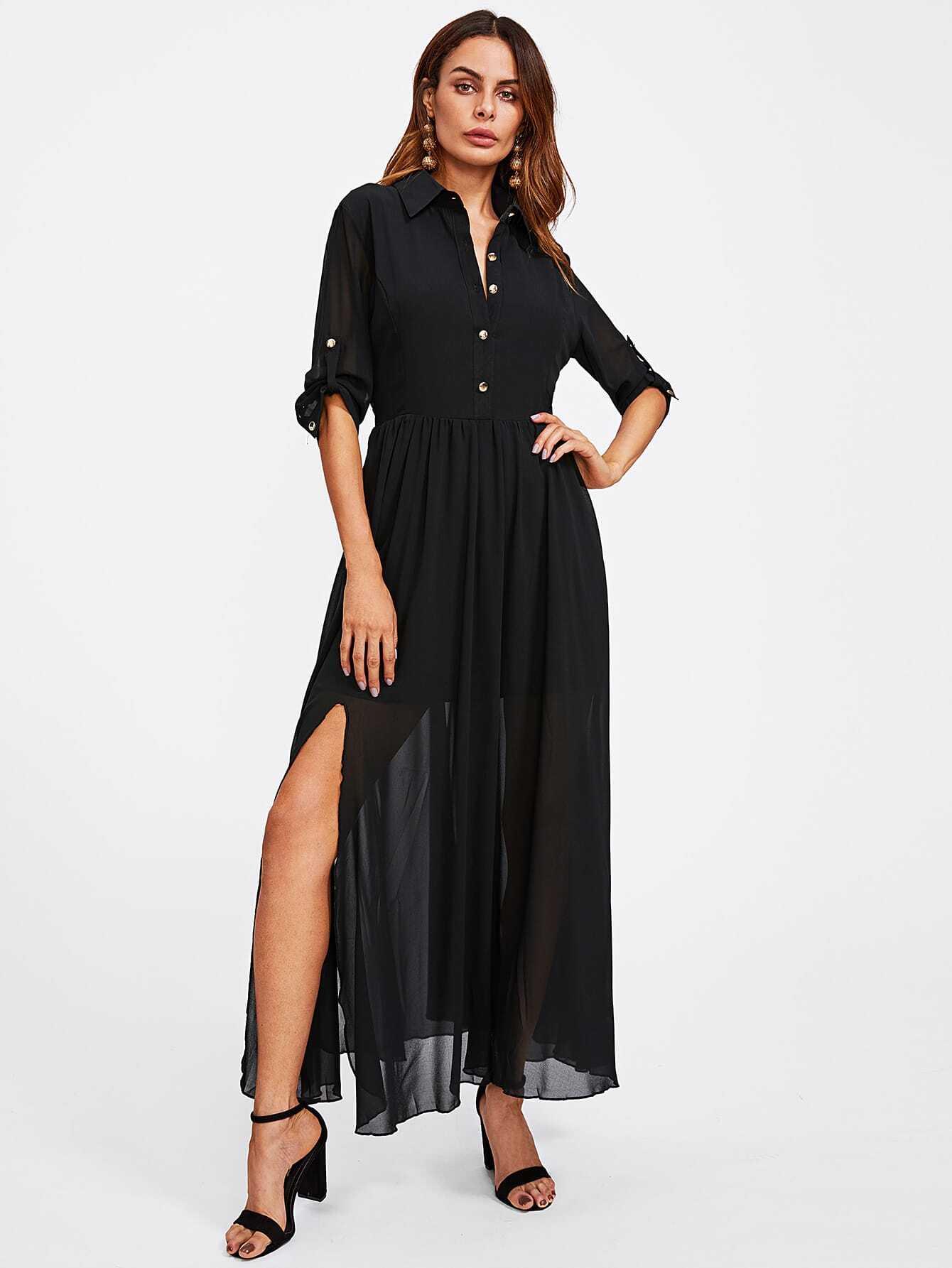 Half Placket Roll Sleeve High Slit Dress
