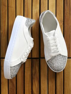 Glitter Accent Sneakers WHITE
