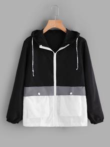 Color Block Hooded Zip Up Jacket