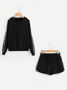 Striped Sleeve Hoodie & Dolphin Hem Shorts Set