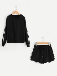 Striped Sleeve Hoodie & Dolphin Hem Shorts Set