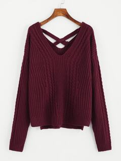 Crisscross Dual V Neck Slit Side Sweater