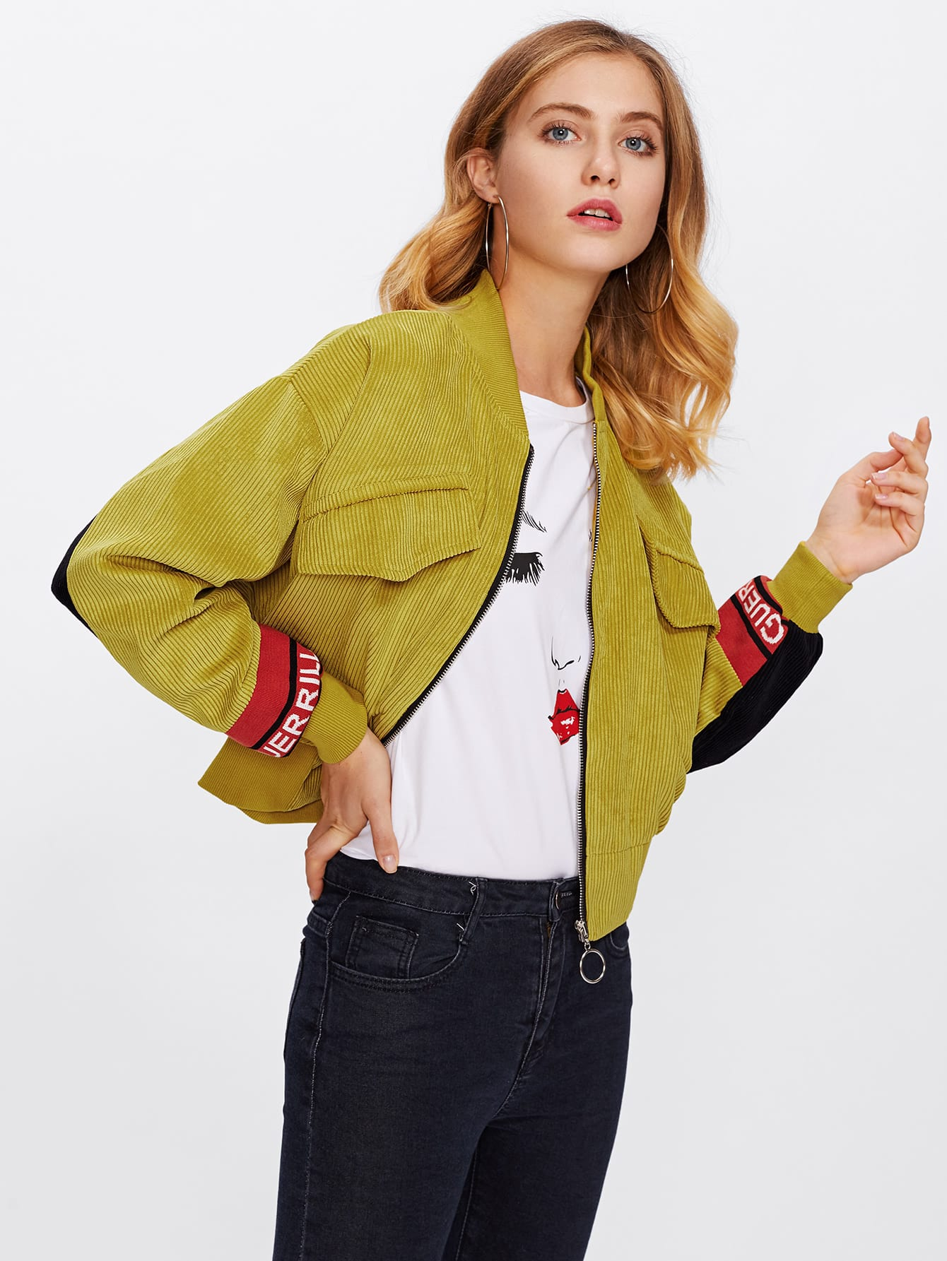 Contrast Panel Letter Detail Corduroy Jacket two tone patch back letter ribbon detail bomber jacket