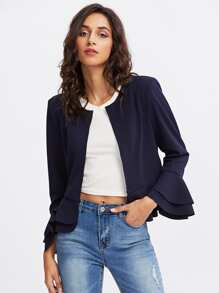Layered Ruffle Cuff And Hem Open Front Blazer