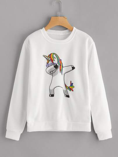 Sweat-shirt imprimé unicorne