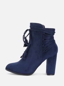 Bow Tie Front Suede Ankle Boots