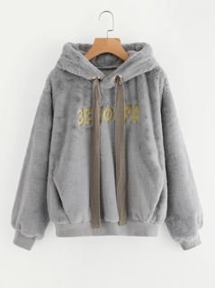 Pocket Front Embroidered Fluffy Hoodie