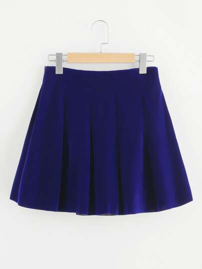 Boxed Pleated Velvet Skirt