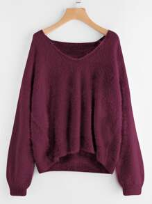 Lantern Sleeve Fluffy Sweater