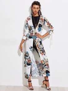 Kimono découpé contrasté imprimé botanique