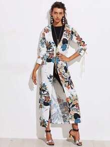 Kimono lungo con stampa botanica