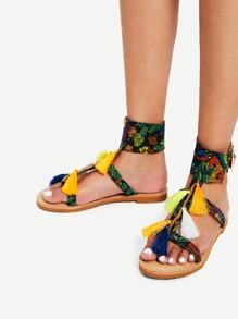 Tassel Detail Ankle Cuff Flat Sandals