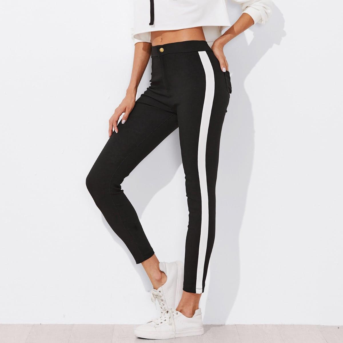 Skinny broek met zijstrepen