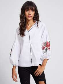 Flower Patch Lantern Sleeve Zig Zag Embroidered Blouse