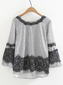 Lace Insert Tie Back Striped Blouse