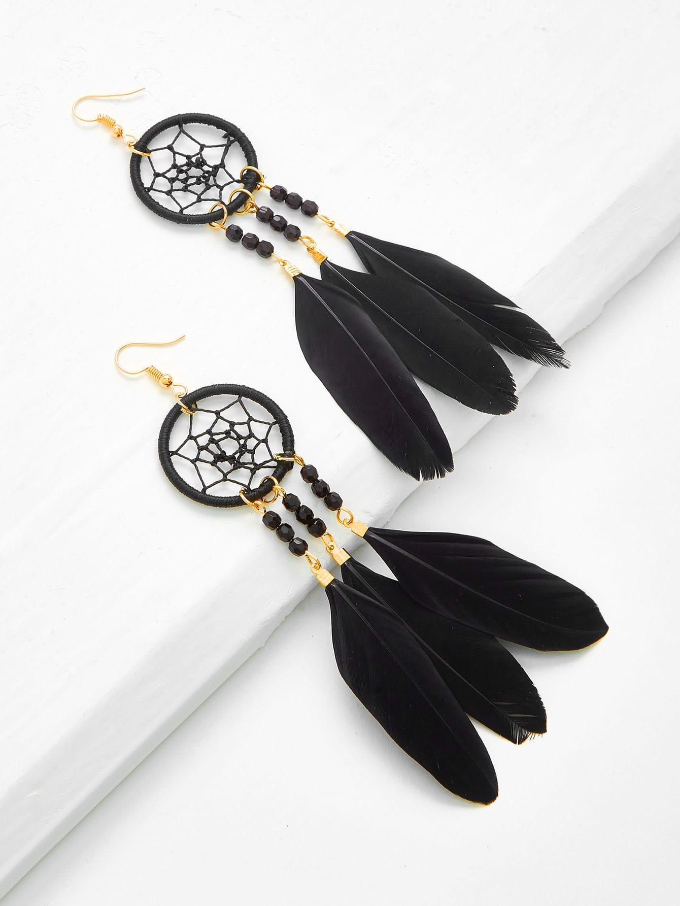 Купить Модные оригинальные серьги-подвески в форме пера, null, SheIn