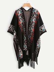 Aztec Pattern Fringe Hem Poncho Cardigan