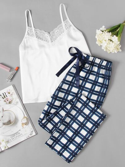 Lace Embellished Cami & Plaid Pants Pajama Set