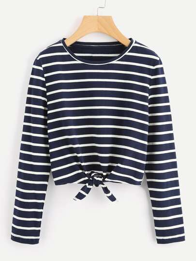 Knot Front Striped Tee