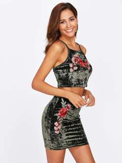 Embroidery Applique Crushed Velvet Crop Cami & Skirt Set